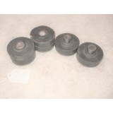 Body Mount Cushion, Underbody upper and lower w/Sleeve. Set of 4. 64-67 Corvette