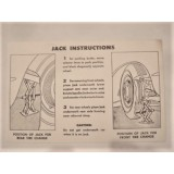 Spare Tire Board Jack Instruction Decal, New.  53-60 Corvette