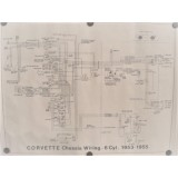 Chassis Wiring Diagram, New, 53-55 Corvette