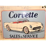 Corvette Sales & Service Sign, Metal.  New