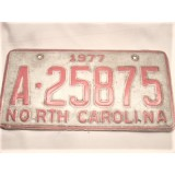 License Plate, Front or Rear, North Carolina Plate, 1977